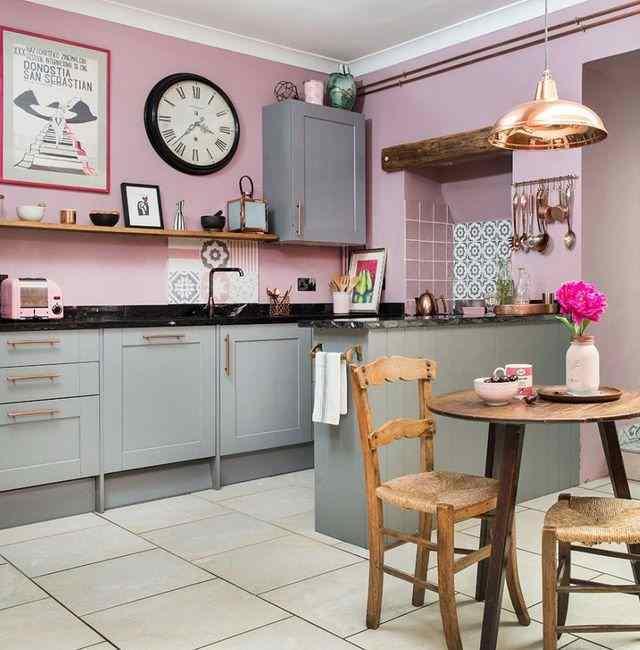 Сочетание серого и розового цвета, фото в интерьере