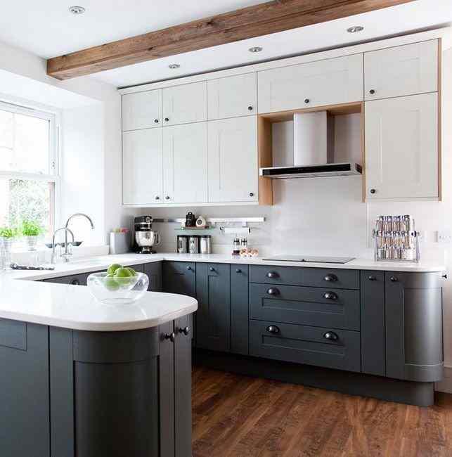Сочетание серого цвета кухни с белым, фото в интерьере