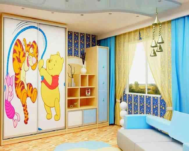 Шкаф купе в интерьере детской комнаты, фото шкафа с персонажами мультфильмов