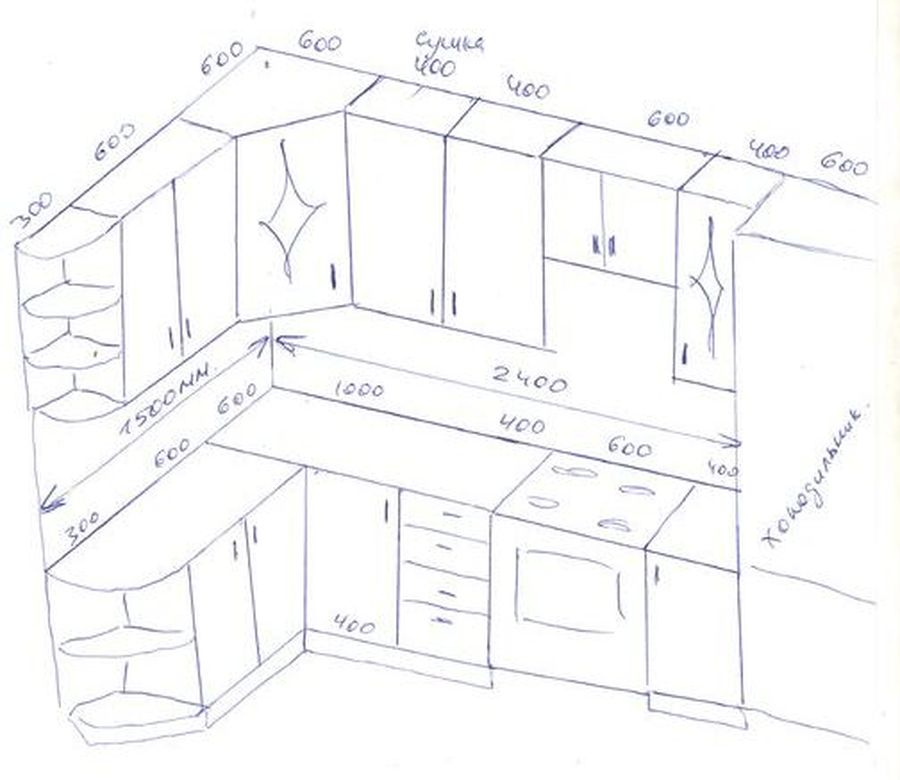 Готовый проект кухонного гарнитура