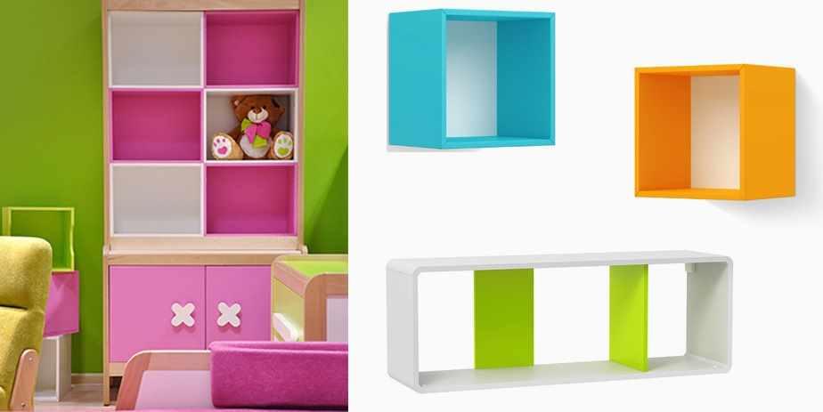 Необыкновенный стеллаж в детскую комнату в розовом цвете - фото в интерьере