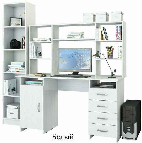 Набор мебели для домашнего офиса с письменным столом, надставкой и стеллажом