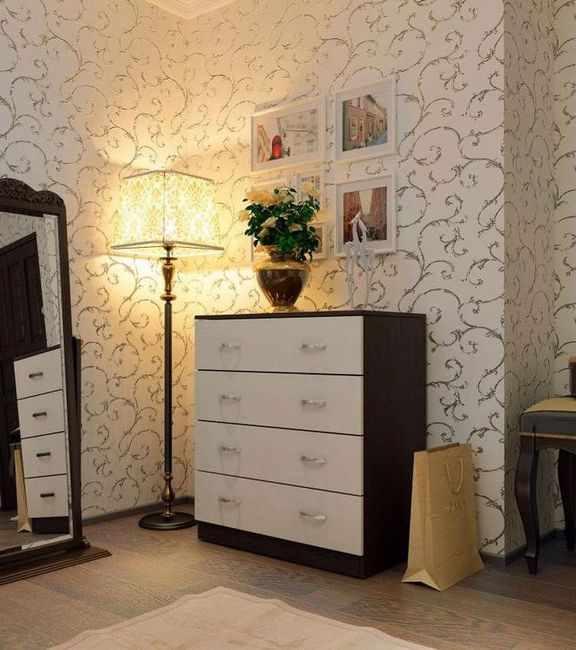 Комод Милан 11, Мастер, фото в интерьере в цвете венге и молочный дуб