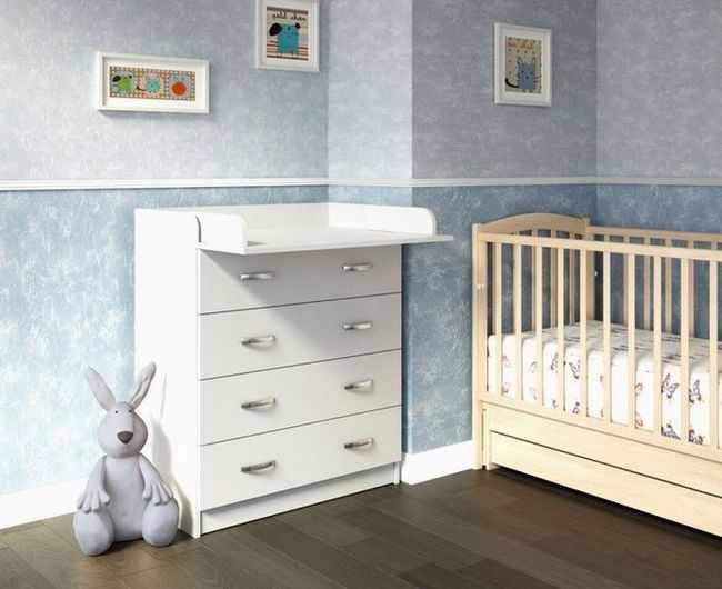 Белый пеленальный комод Малыш 11 с пеленальным столиком